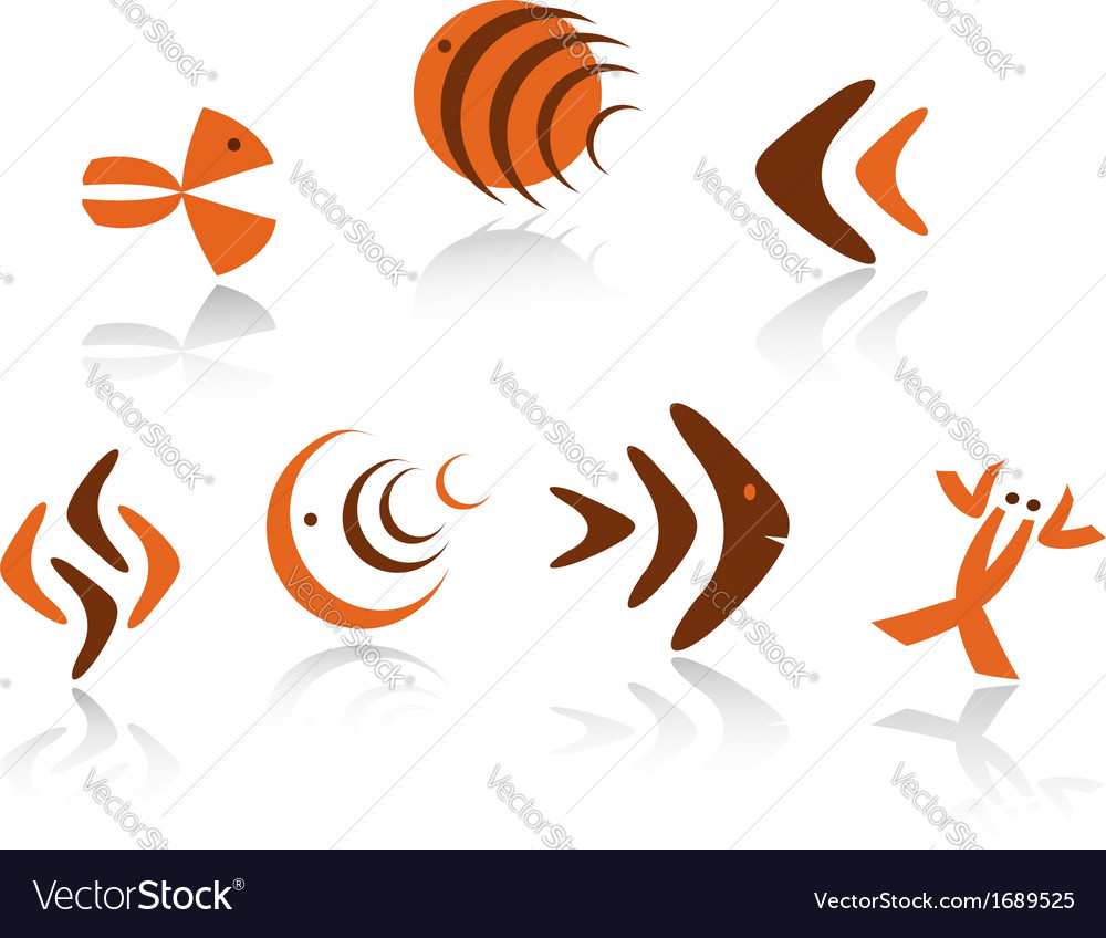 Underwater animals symbols vector | Price: 1 Credit (USD $1)