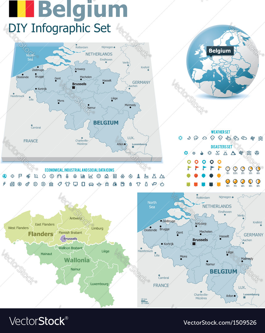 Belgium maps with markers vector | Price: 3 Credit (USD $3)