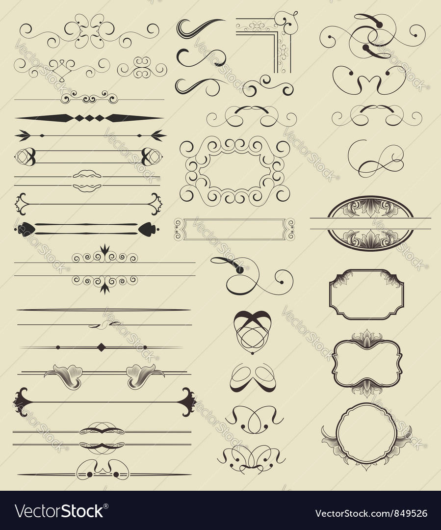 Calligraphic shapes vector | Price: 1 Credit (USD $1)