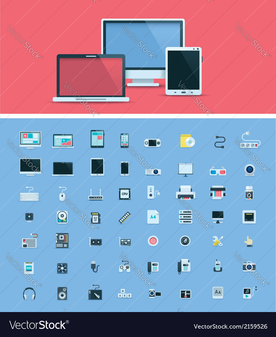 Computer hardware icon set vector | Price: 1 Credit (USD $1)
