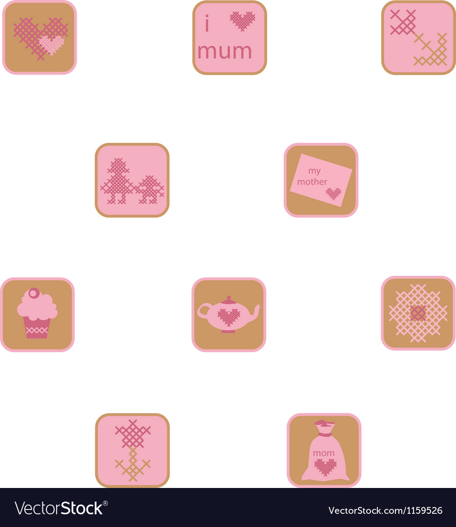 Cross stitch mothers day icons set vector | Price: 1 Credit (USD $1)
