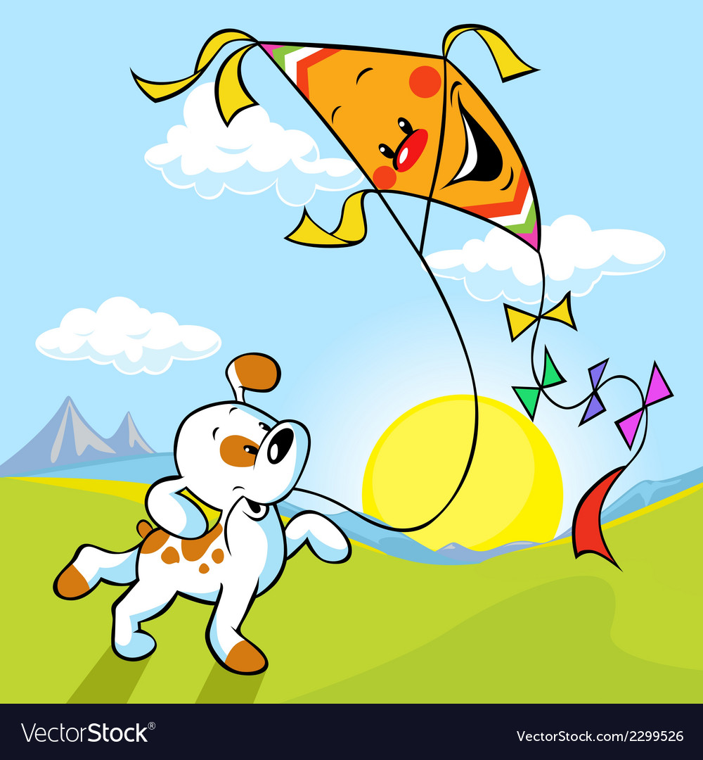 Dog with kite vector | Price: 1 Credit (USD $1)