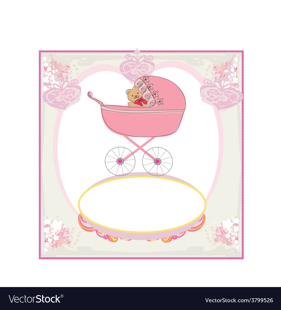 Funny teddy bear in stroller baby announcement vector | Price: 1 Credit (USD $1)