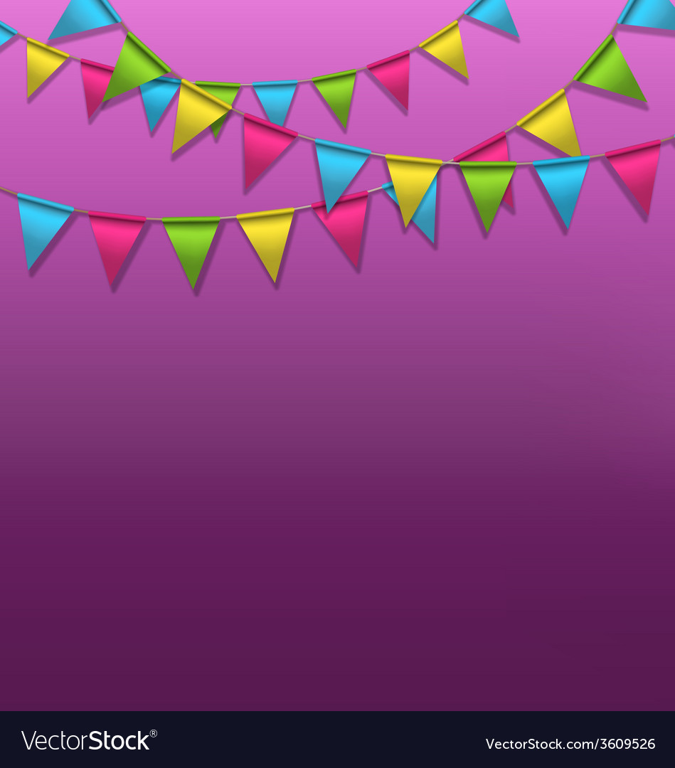 Multicolored bright buntings garlands on violet vector | Price: 1 Credit (USD $1)