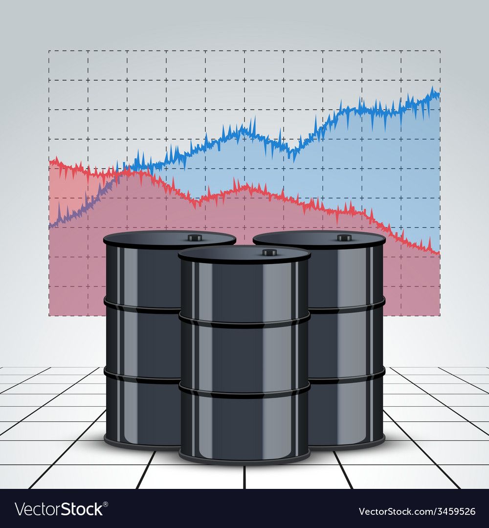 Oil barrels on the price chart background vector | Price: 1 Credit (USD $1)