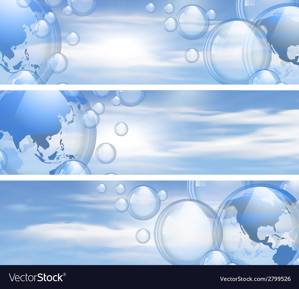 Sky and bubbles banners vector | Price: 1 Credit (USD $1)