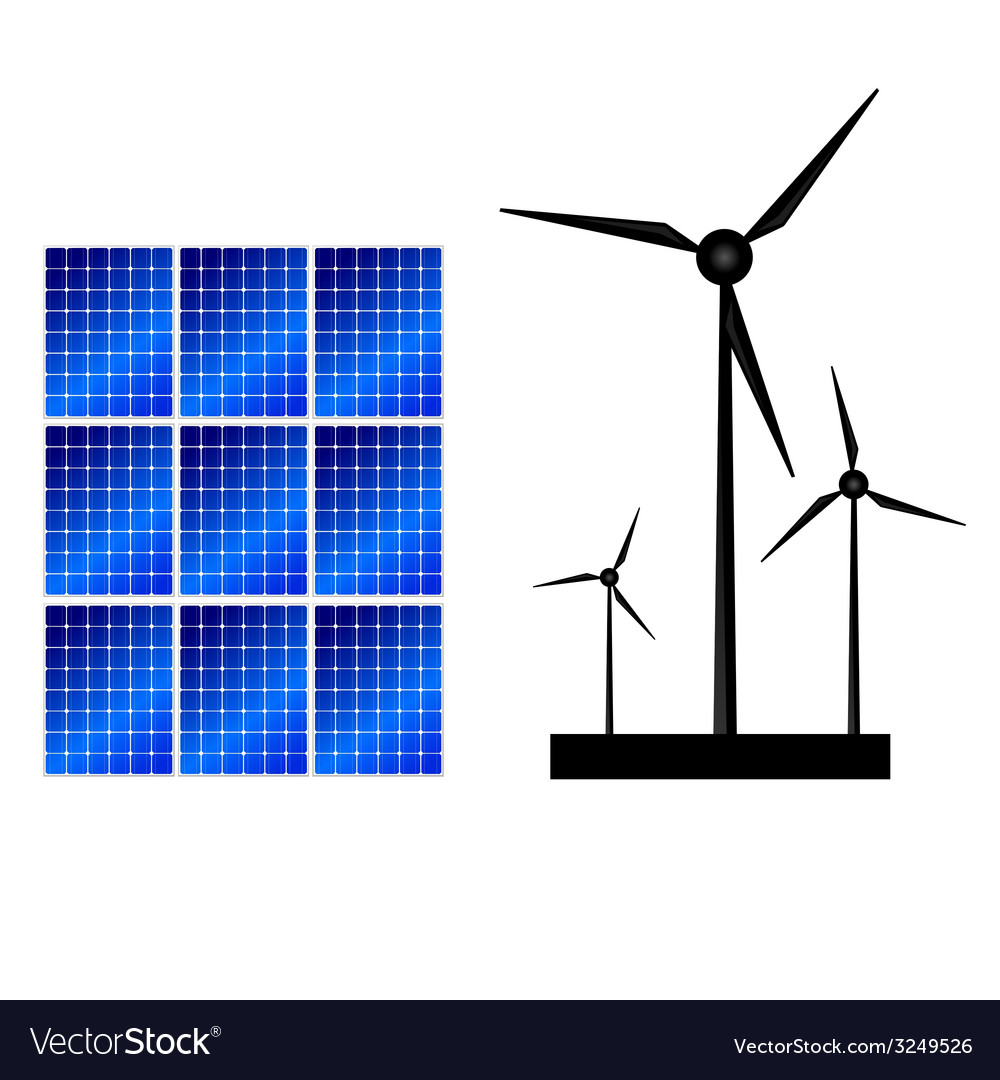 Solar panel and windmills for energy vector | Price: 1 Credit (USD $1)