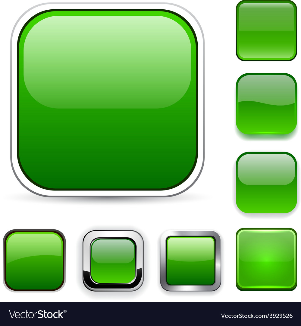 Square green app icons vector | Price: 1 Credit (USD $1)