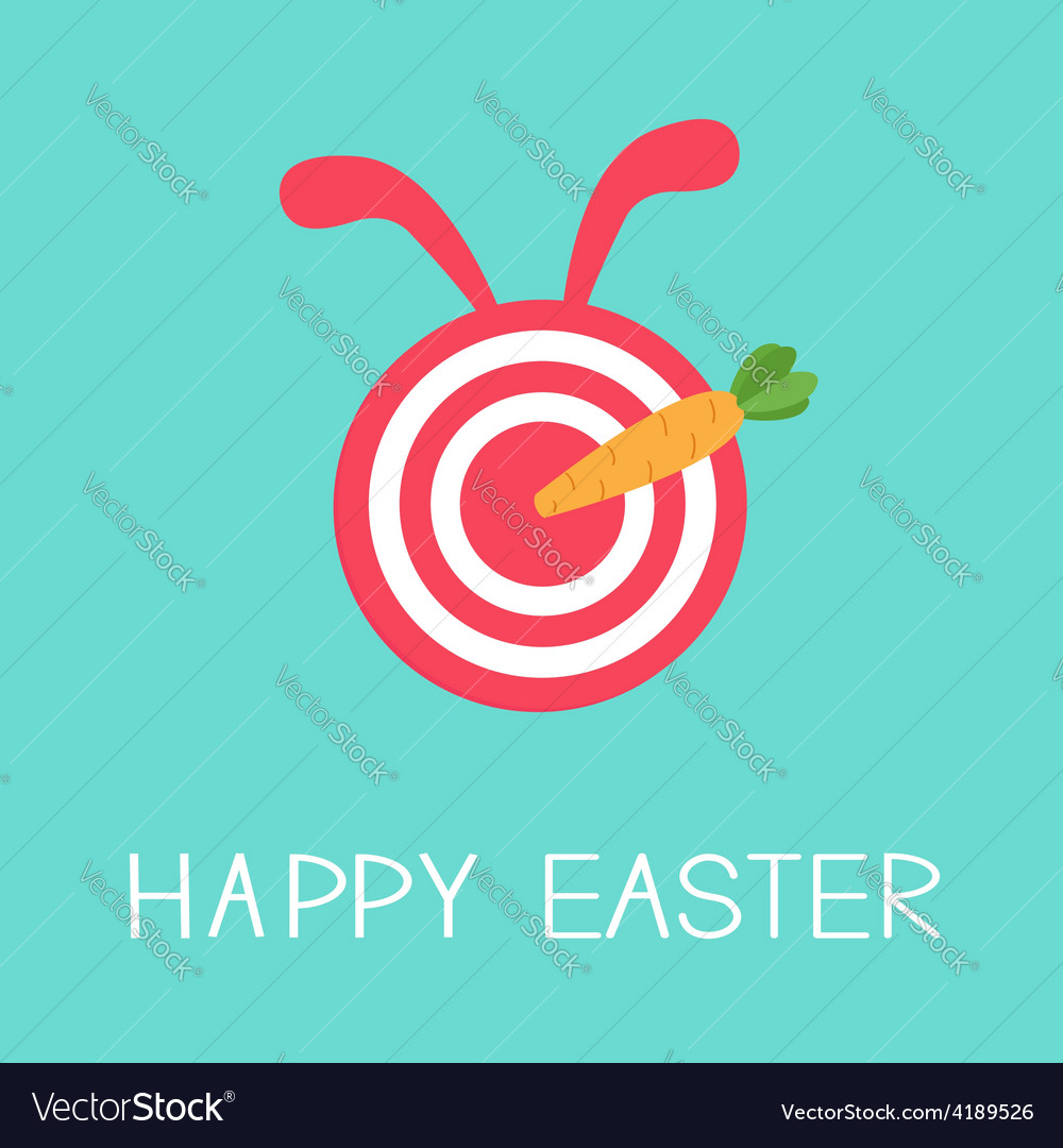 Target with rabbit ears and carrot arrow happy vector | Price: 1 Credit (USD $1)