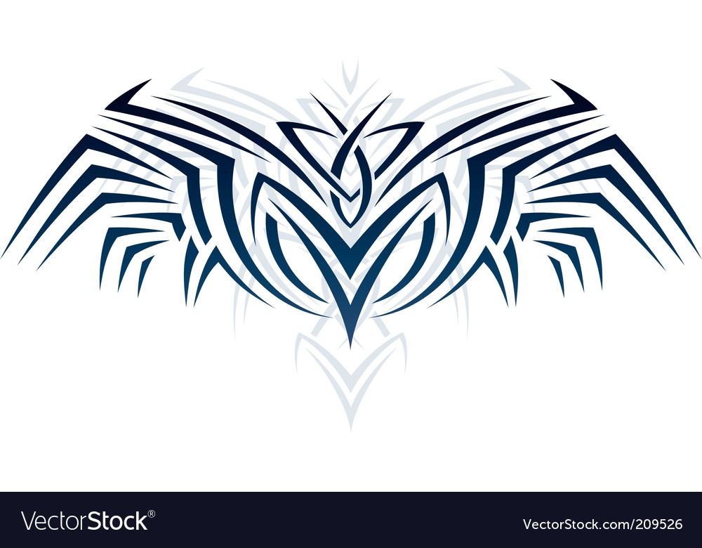 Wings in tattoo style vector | Price: 1 Credit (USD $1)