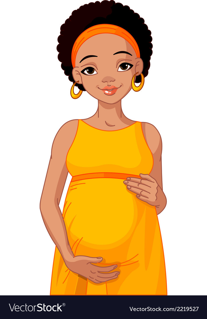 African pregnant woman prepared to be mother vector | Price: 3 Credit (USD $3)