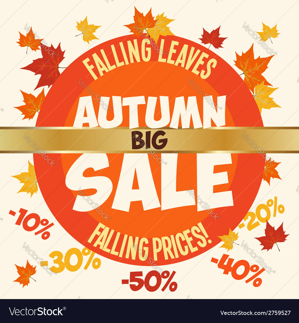 Big autumn sale poster vector | Price: 1 Credit (USD $1)