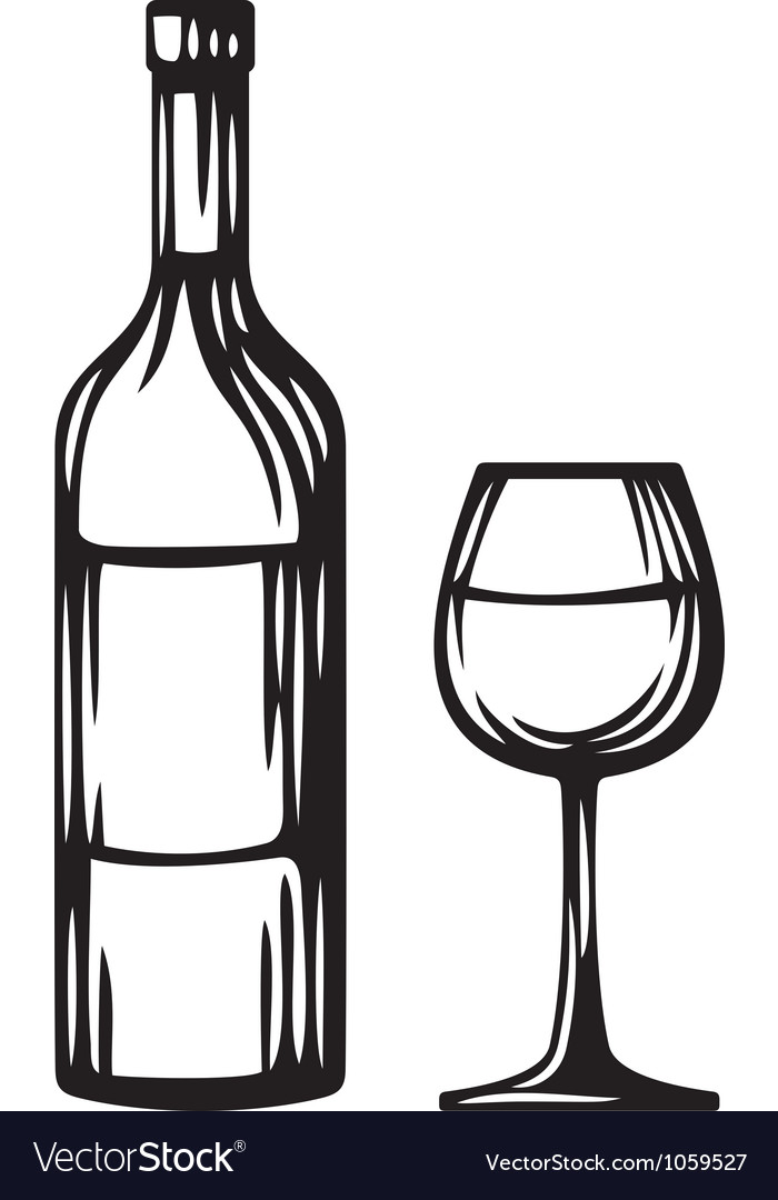 Bottle of wine and glass vector | Price: 1 Credit (USD $1)