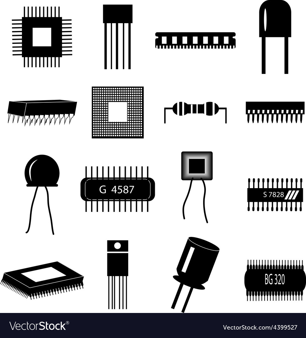 Electronic circuit parts icons set vector | Price: 3 Credit (USD $3)