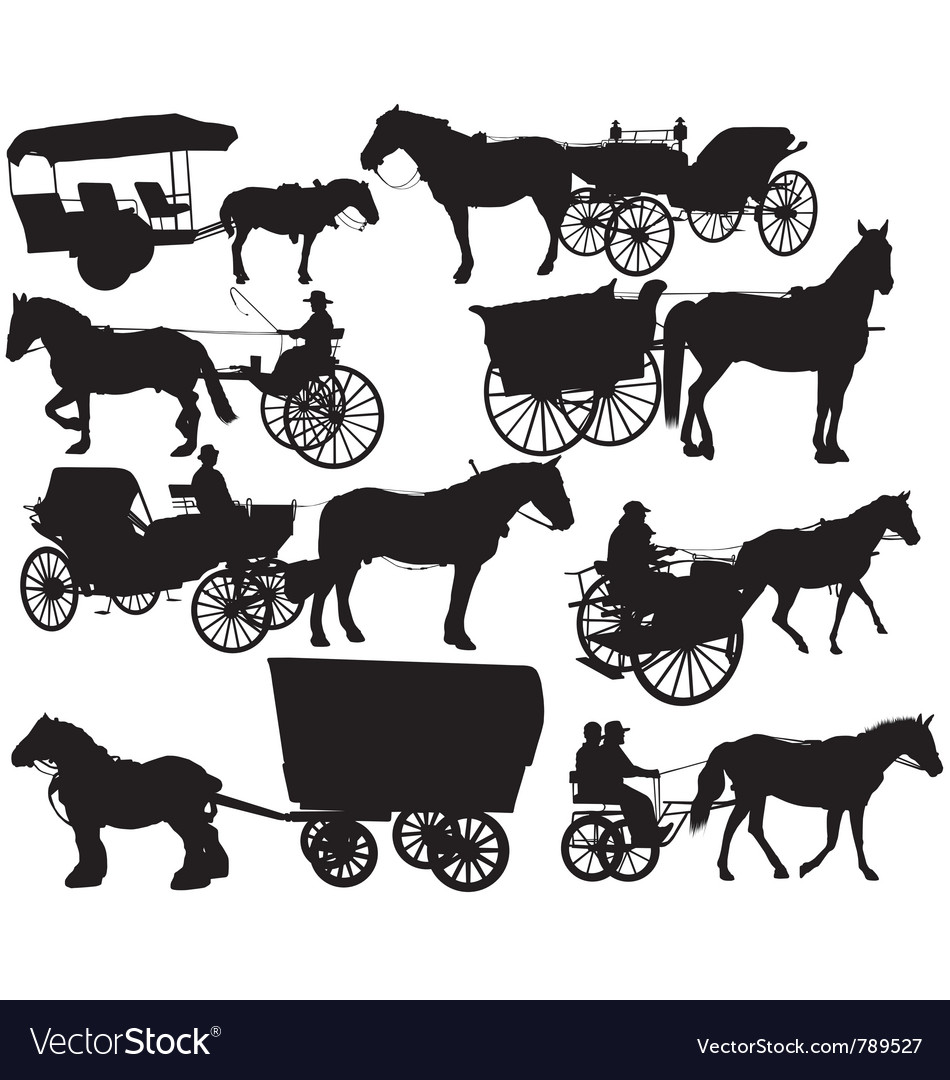 Horse drawn vehicle silhouettes vector | Price: 1 Credit (USD $1)