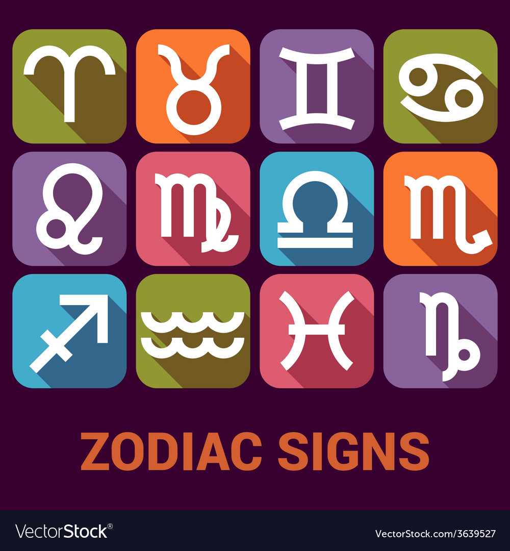 Icon set of zodiac signs in flat style vector   Price: 1 Credit (USD $1)