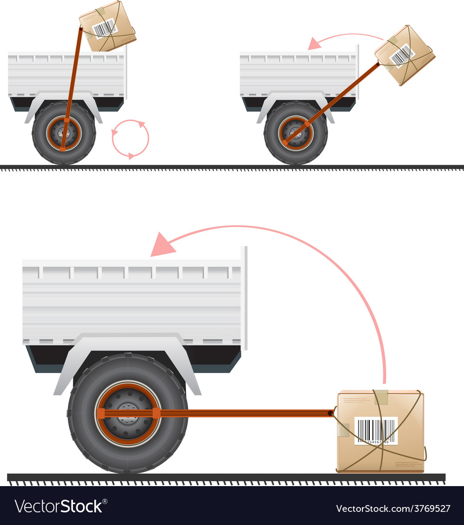 Loading cargo in the truck with the help of wheels vector | Price: 3 Credit (USD $3)