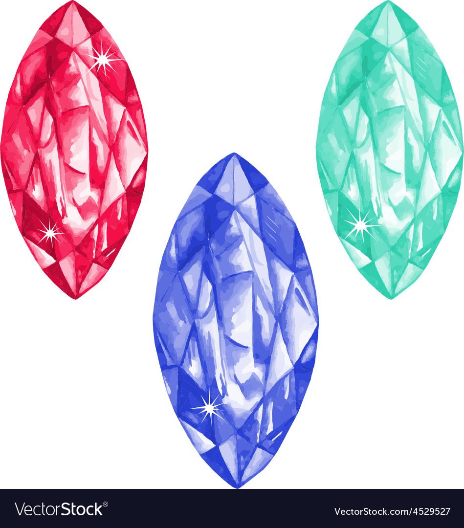Marquis cut watercolour gems set vector