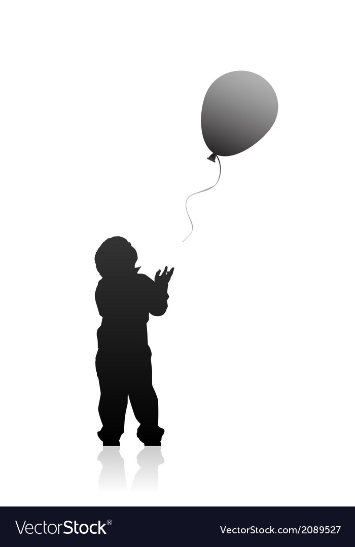 Silhouette of a boy with balloon vector | Price: 1 Credit (USD $1)