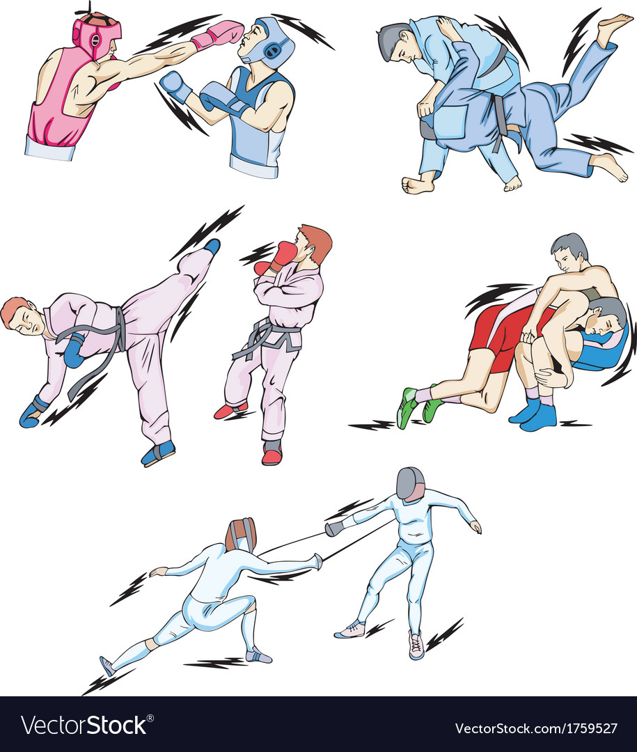 Struggle and fighting sports boxing judo taekwondo vector | Price: 1 Credit (USD $1)