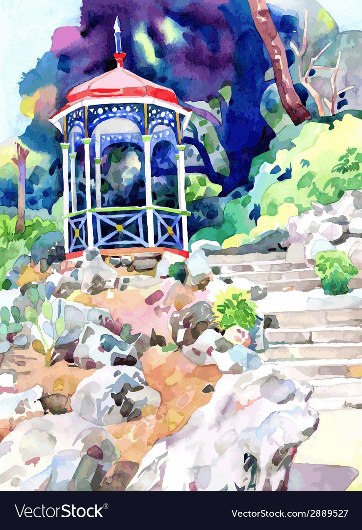 Watercolor painting on paper of arbour in nikita vector   Price: 1 Credit (USD $1)