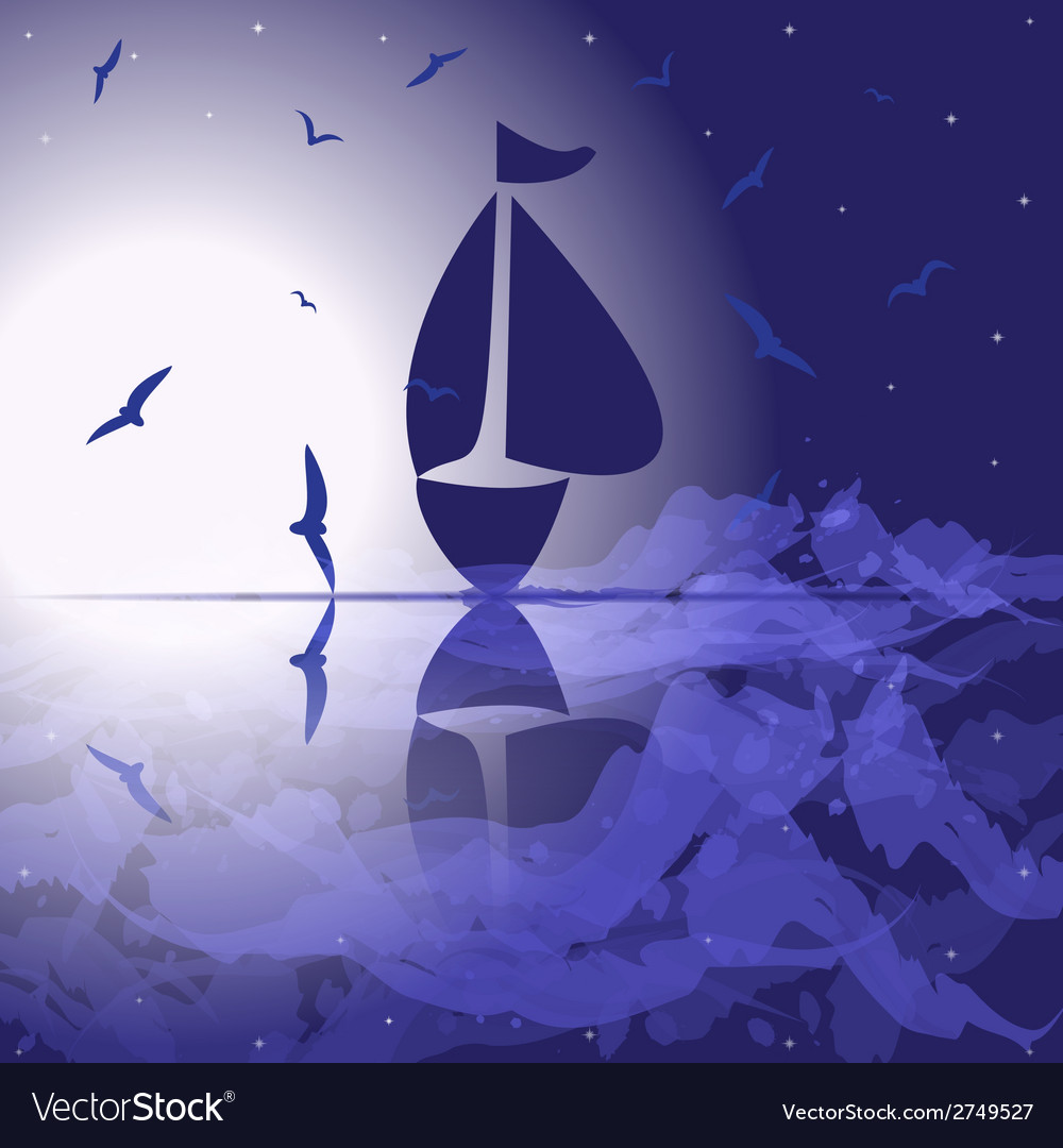 Yacht in the open sea at night vector | Price: 1 Credit (USD $1)