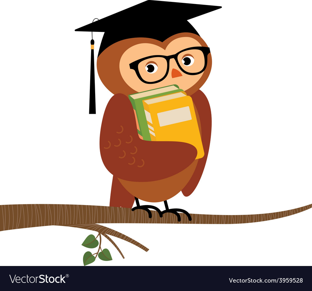 Academic owl holding a book sitting on a branch vector | Price: 1 Credit (USD $1)