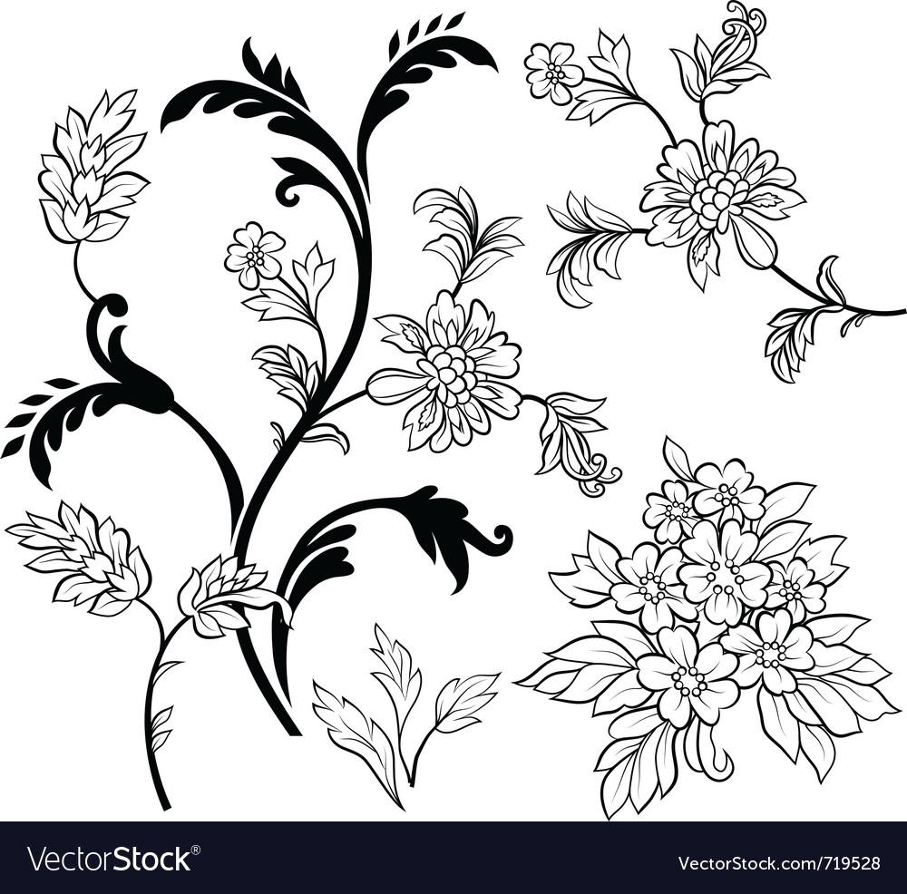 Black outline flower elements vector | Price: 1 Credit (USD $1)