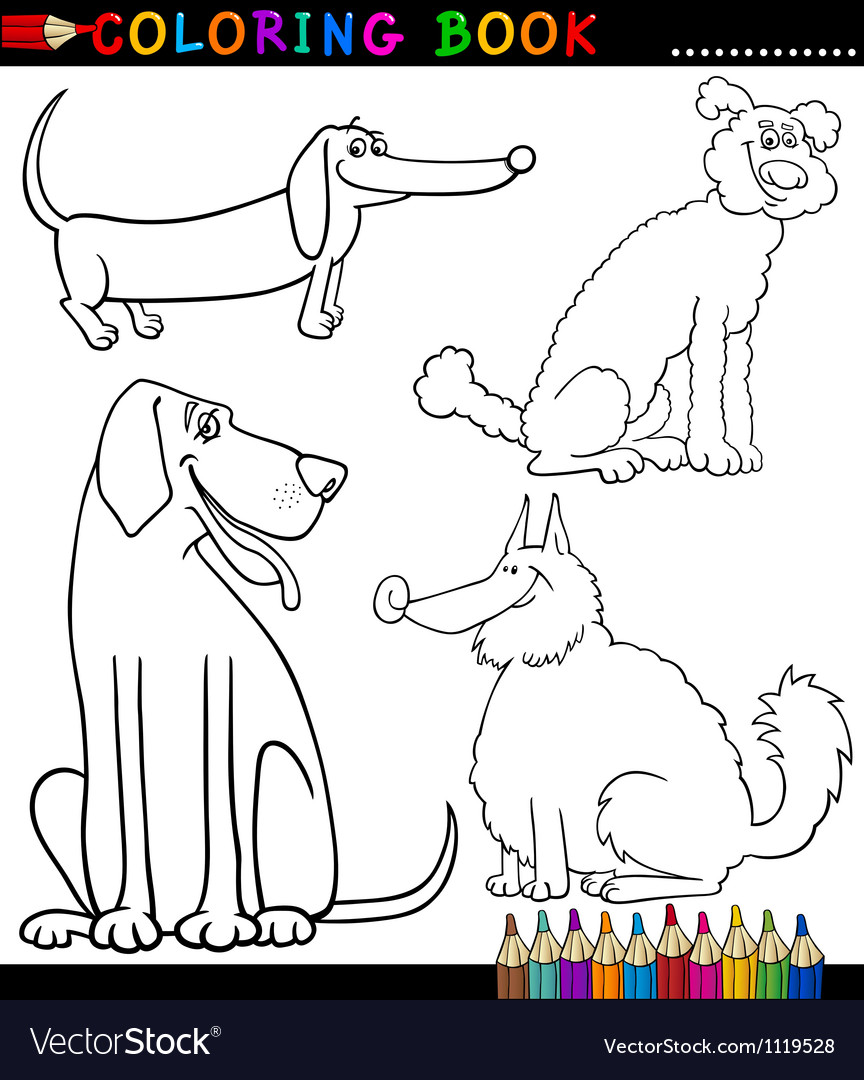 Cartoon dogs or puppies coloring page vector | Price: 1 Credit (USD $1)