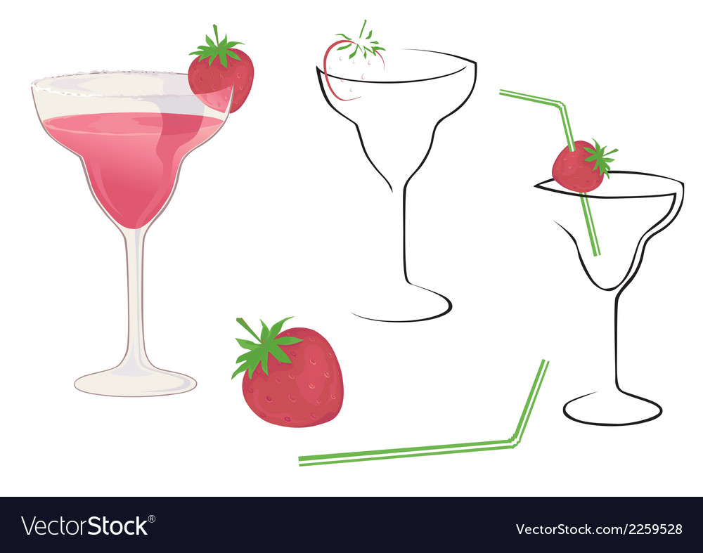 Cocktail with strawberry vector | Price: 1 Credit (USD $1)