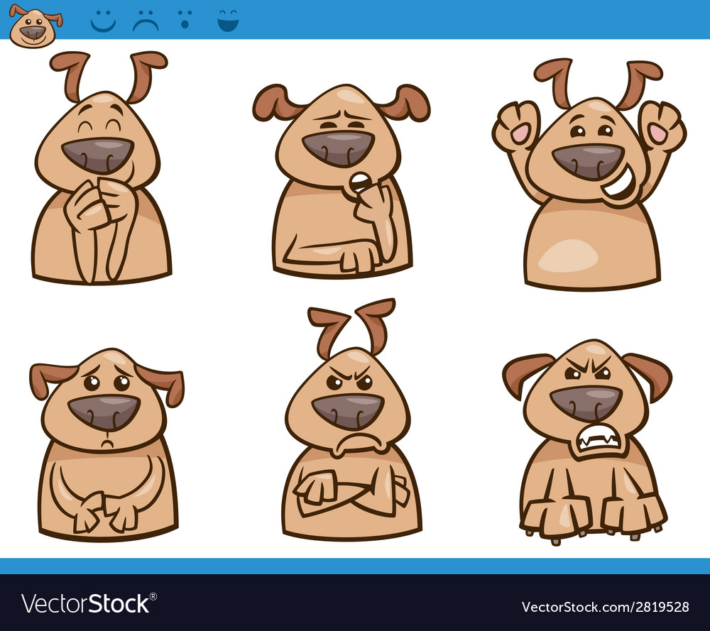Dog emotions cartoon set vector | Price: 1 Credit (USD $1)