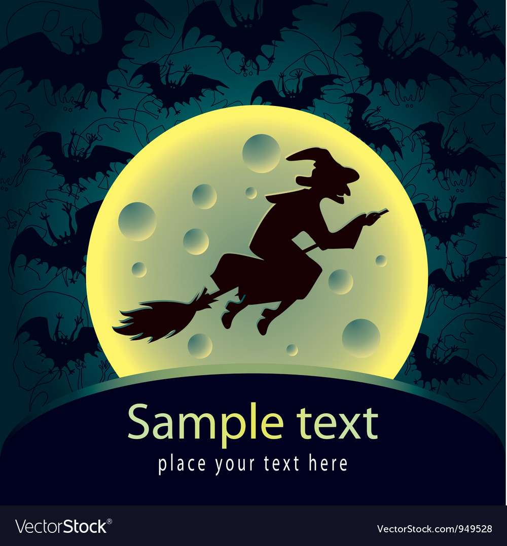 Halloween card with witch vector | Price: 1 Credit (USD $1)