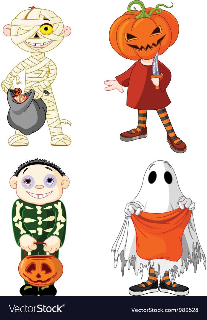 Halloween trick or treating children vector | Price: 3 Credit (USD $3)