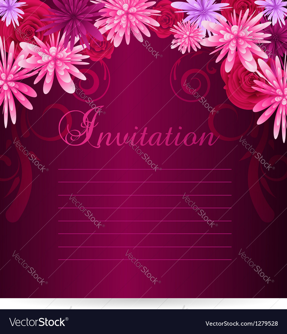 Invitation template with abstract flowers vector | Price: 1 Credit (USD $1)