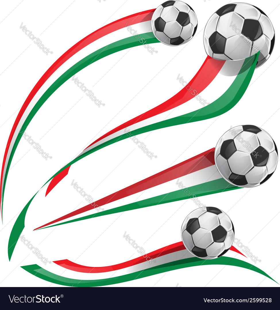 Italian flag set with soccer ball vector | Price: 1 Credit (USD $1)