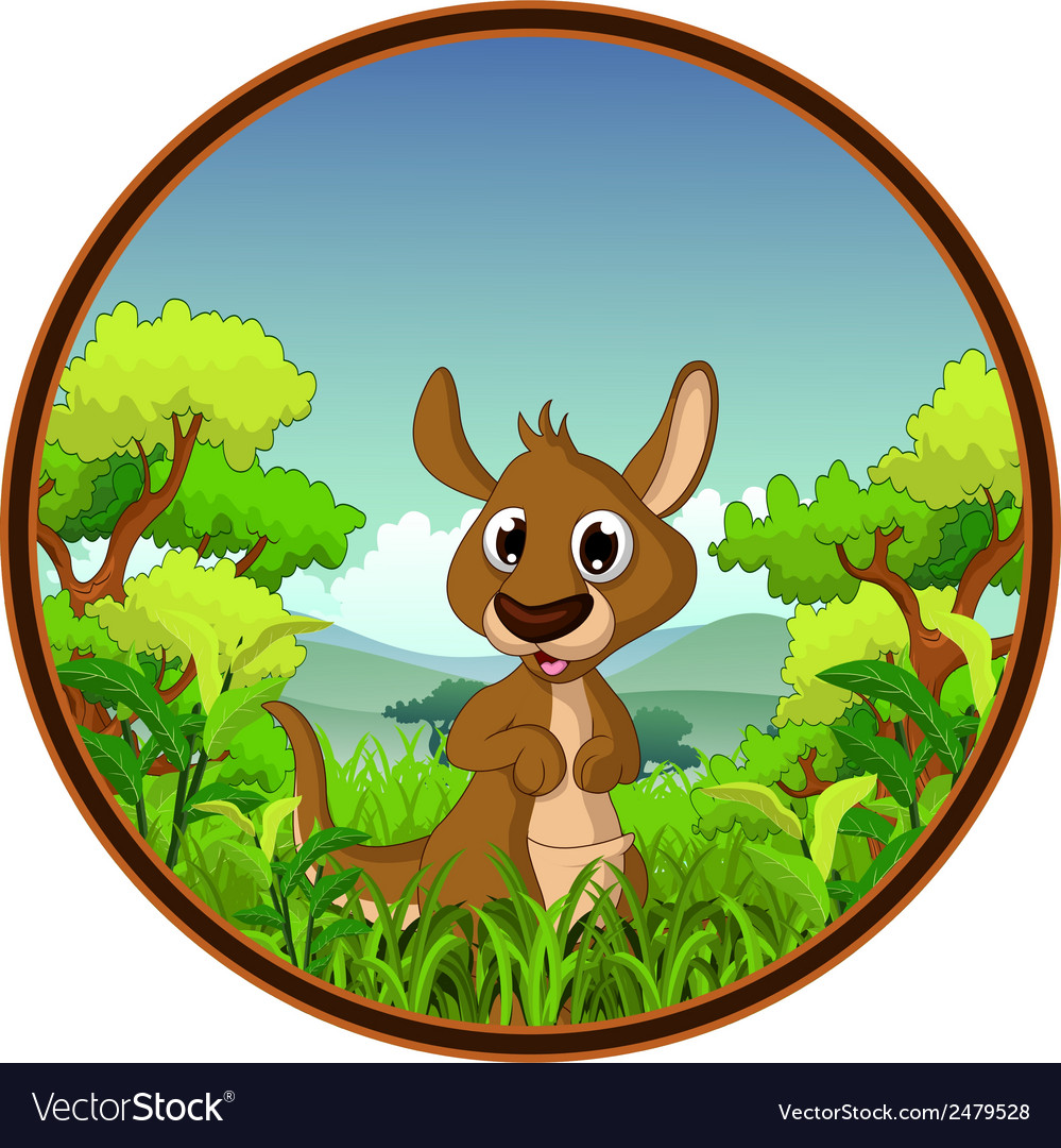 Kangaroo with forest background vector | Price: 1 Credit (USD $1)