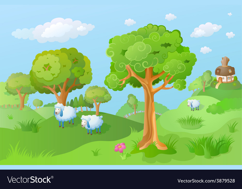 Lamb in the cartoon landscape vector | Price: 1 Credit (USD $1)