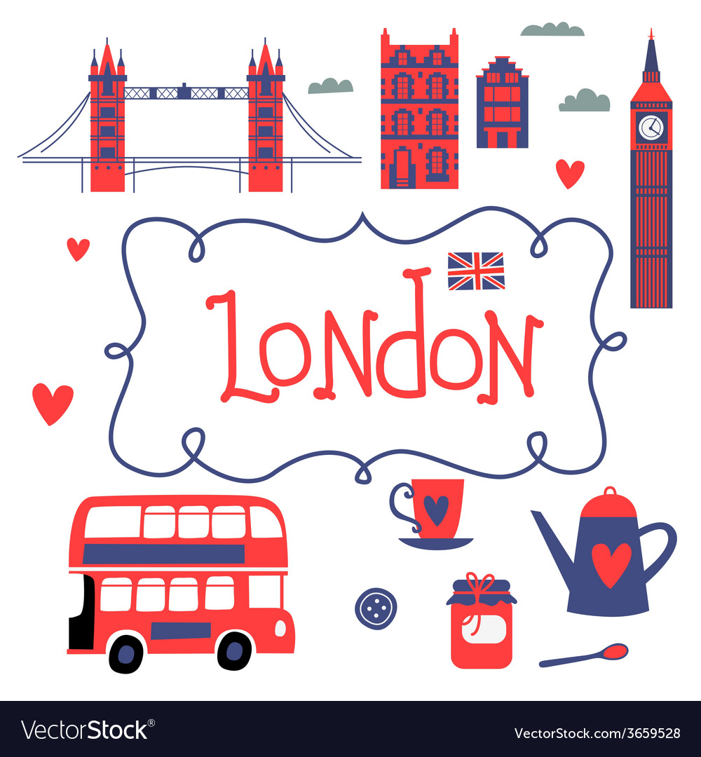 London travel set vector | Price: 1 Credit (USD $1)
