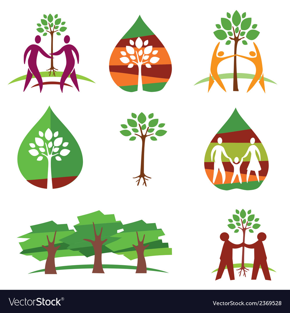 People and trees colorful icons vector | Price: 1 Credit (USD $1)