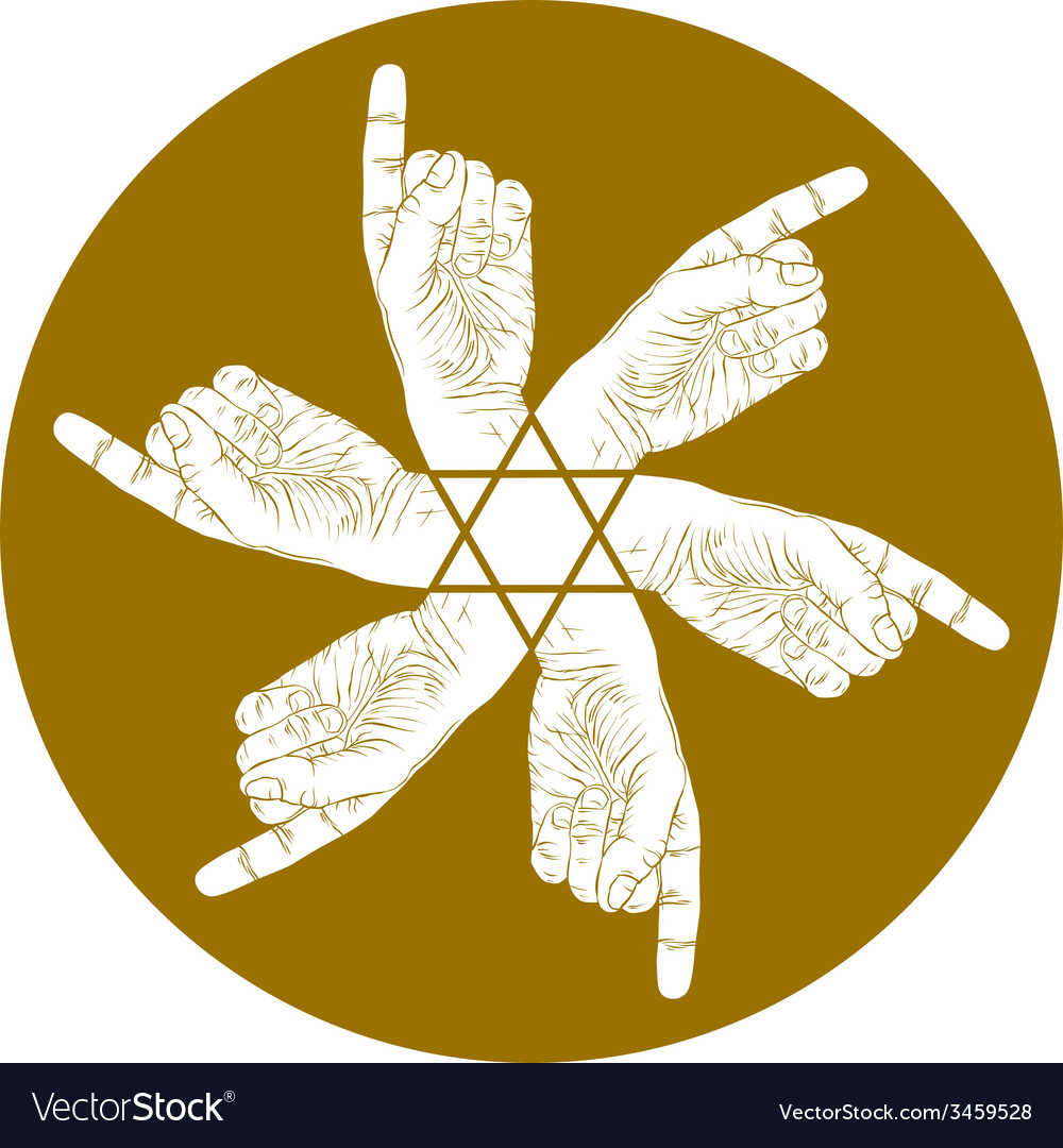Six pointing hands abstract symbol with hexagonal vector | Price: 1 Credit (USD $1)