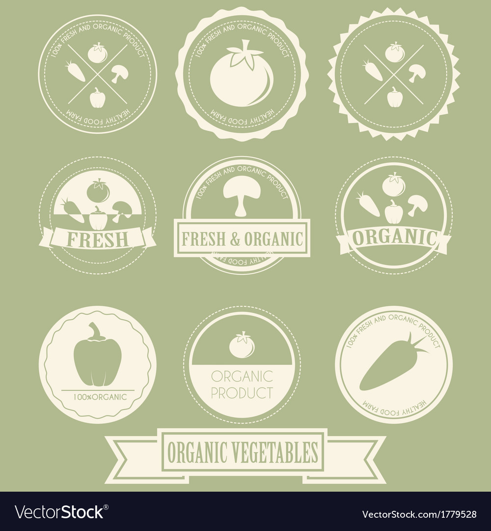Vegetable organic label vector | Price: 1 Credit (USD $1)