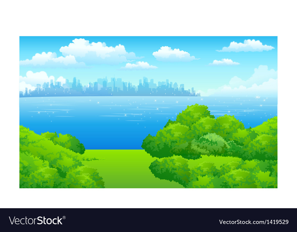 City skyline green landscape vector | Price: 1 Credit (USD $1)