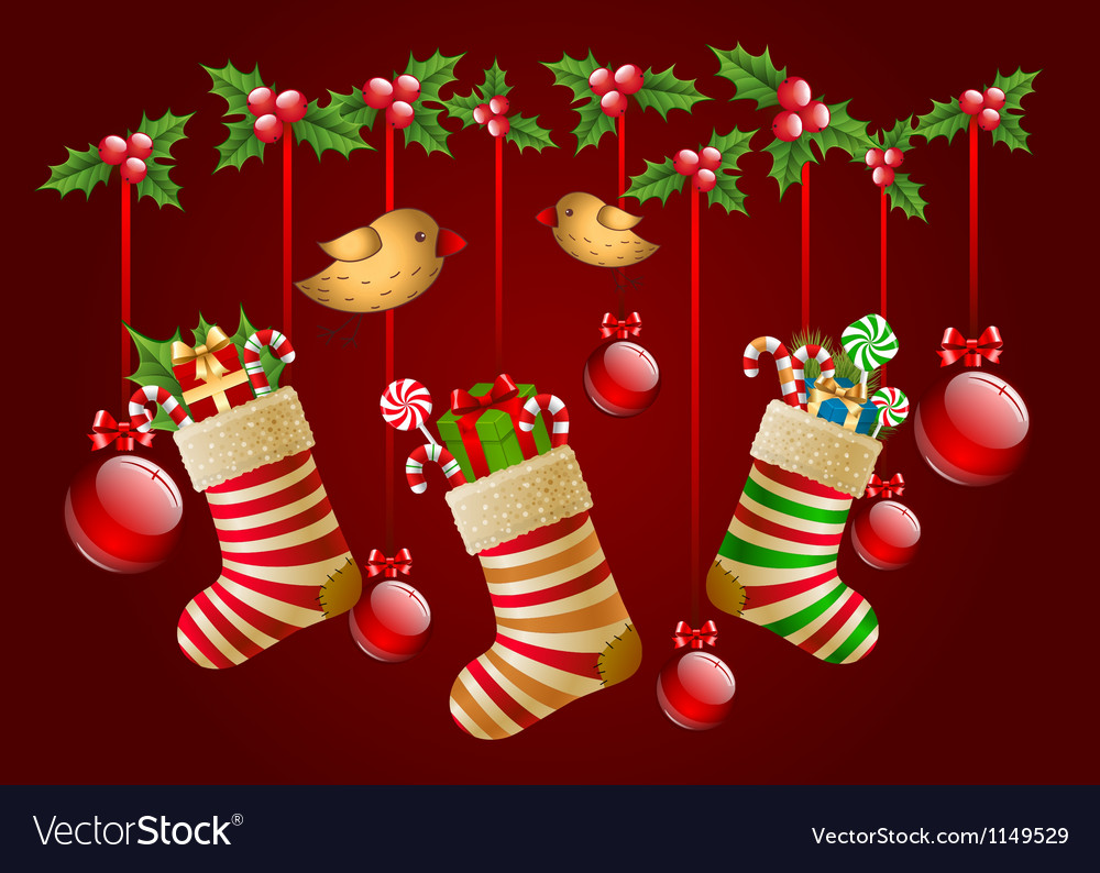 Hanging christmas socks with present and balls vector | Price: 1 Credit (USD $1)
