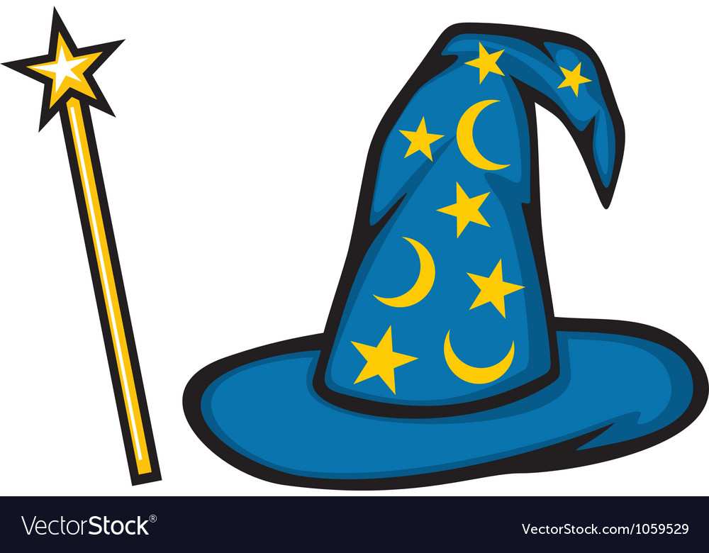 Hat of the wizard and magic stick vector | Price: 1 Credit (USD $1)