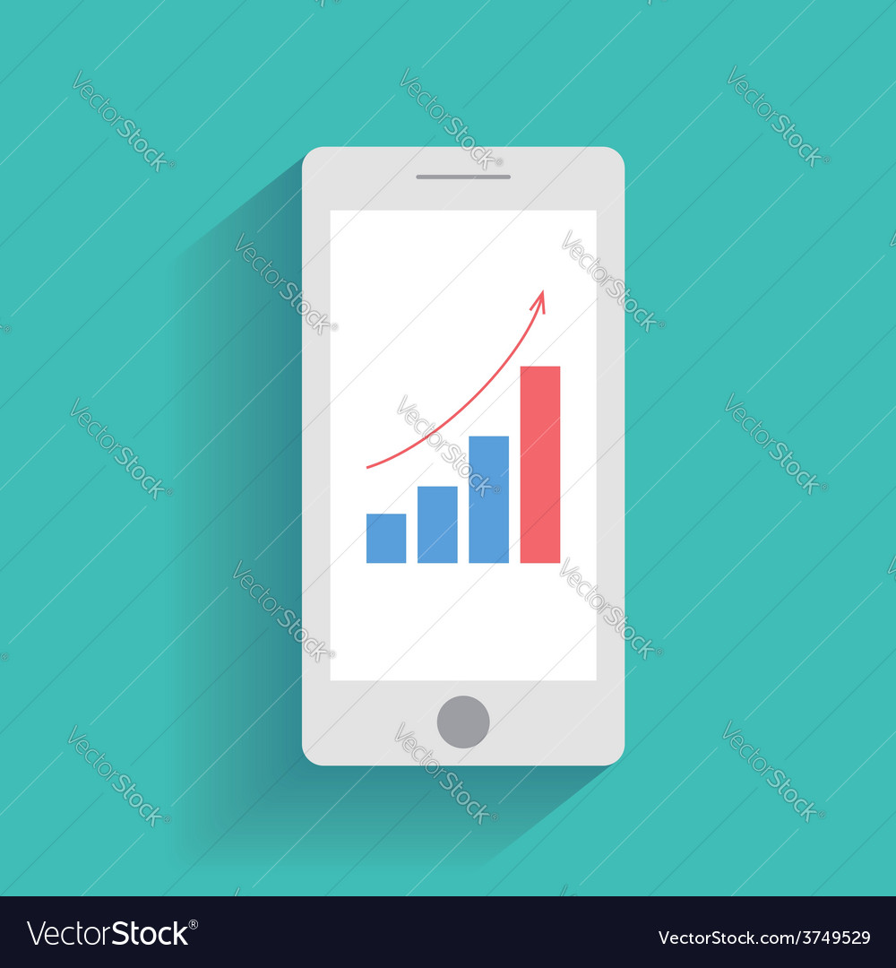 Smart phone with increasing bar chart on the vector | Price: 1 Credit (USD $1)
