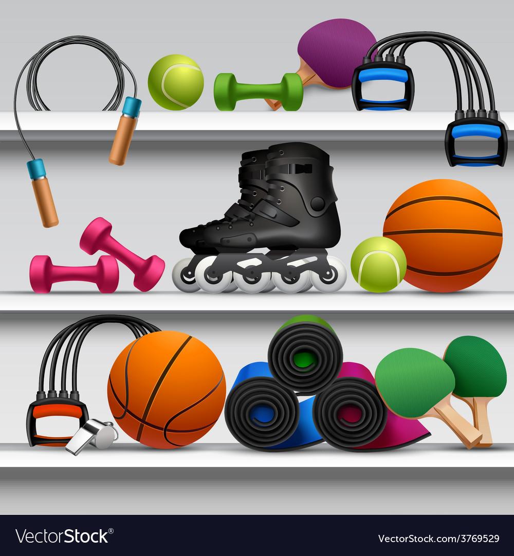 Sport store shelf vector | Price: 1 Credit (USD $1)
