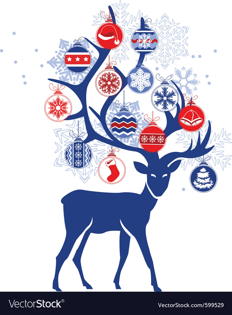 Stylized deer with christmas balls vector | Price: 1 Credit (USD $1)
