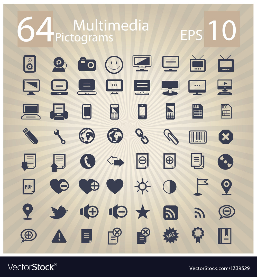 Technology multimedia symbols set vector | Price: 1 Credit (USD $1)