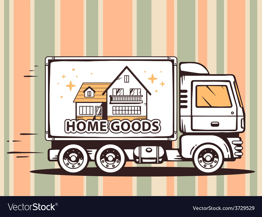 Truck free and fast delivering home goods vector | Price: 1 Credit (USD $1)