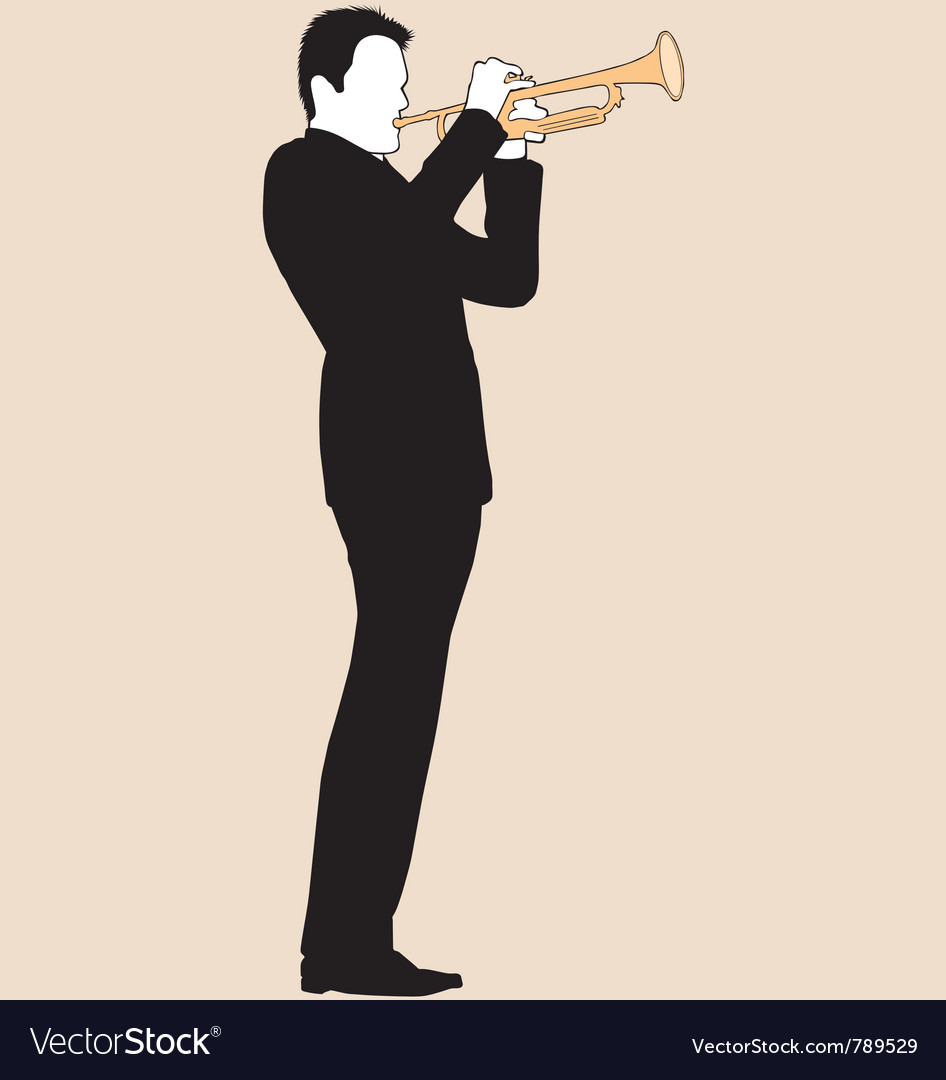 Trumpet player silhouette vector | Price: 1 Credit (USD $1)